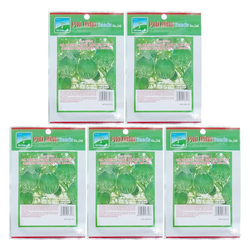Bộ 5 túi 0.2g Hạt Giống Cà Pháo Trứng Phú Nông - Thái Lan (Solanum macrocarpon)