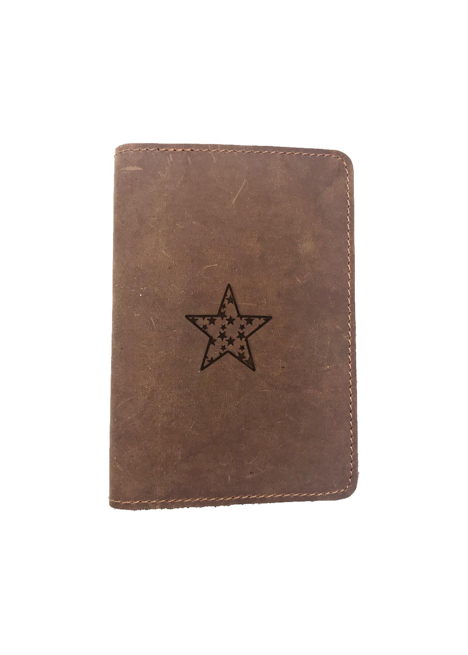 Passport Cover Bao Da Hộ Chiếu Da Sáp Khắc Hình Ngôi sao STAR (BROWN)