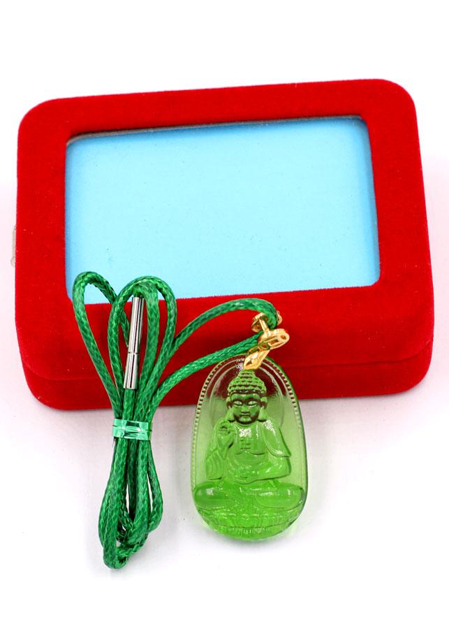 Dây chuyền mặt Phật A Di Đà - pha lê xanh lá 3.6cm DXFBXL7 - dây xanh - kèm hộp nhung - tuổi Tuất, Hợi