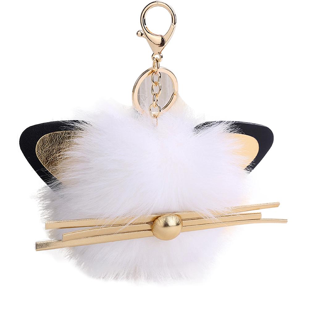 Cute Plush Ball Cat Style Pendant Women Key Chain Bag Purse Decoration Keyring