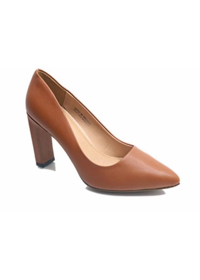 Giày Cao Gót Nữ 7cm Trơn - Nâu