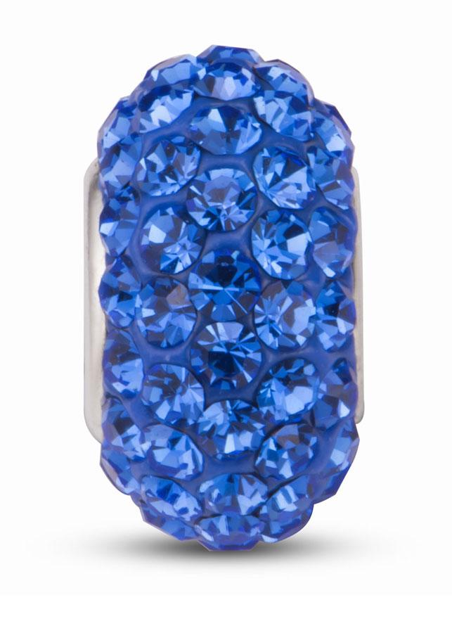 Hạt charm DIY PNJSilver hình dẹt tròn màu xanh 1D1DK060014-BO