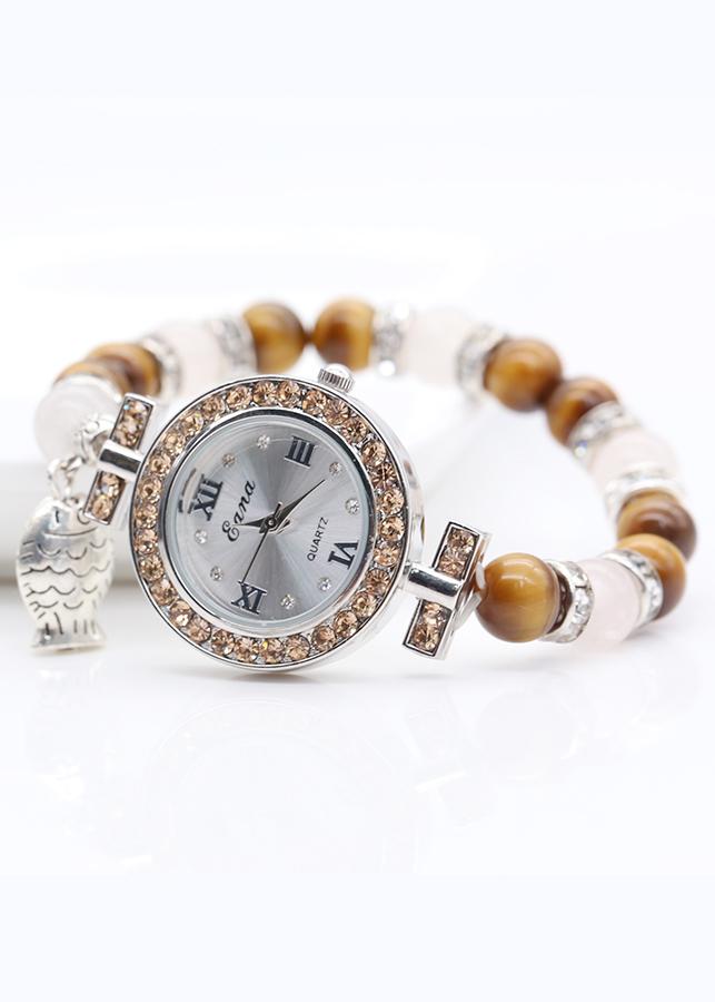 Đồng Hồ Nữ Mix Đá Mắt Hổ Nâu Vàng DHN30 Bảo Ngọc Jewelry