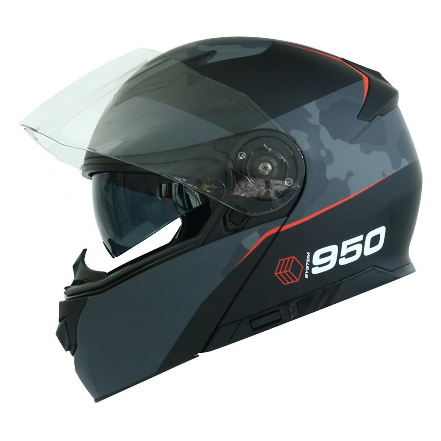 Mũ Bảo Hiểm Lật Hàm Yohe 950 Màu Đen Xám