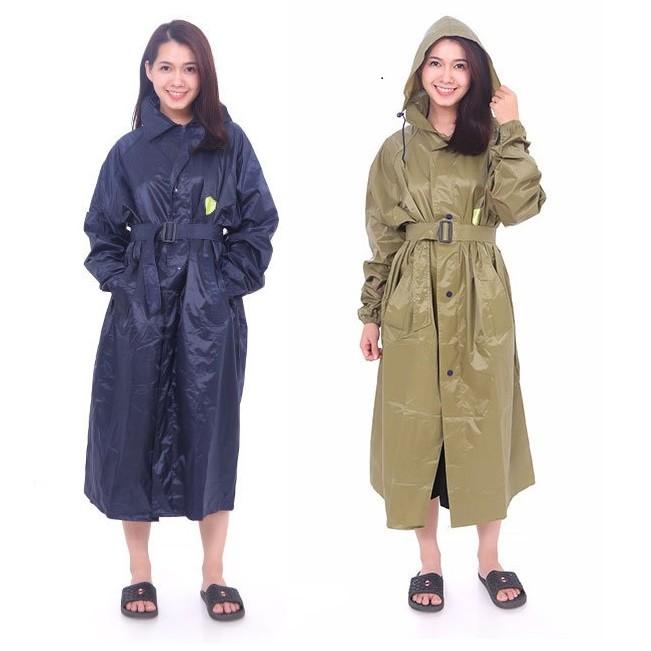 Combo áo đi mưa măng tô và bọc giày đi mưa