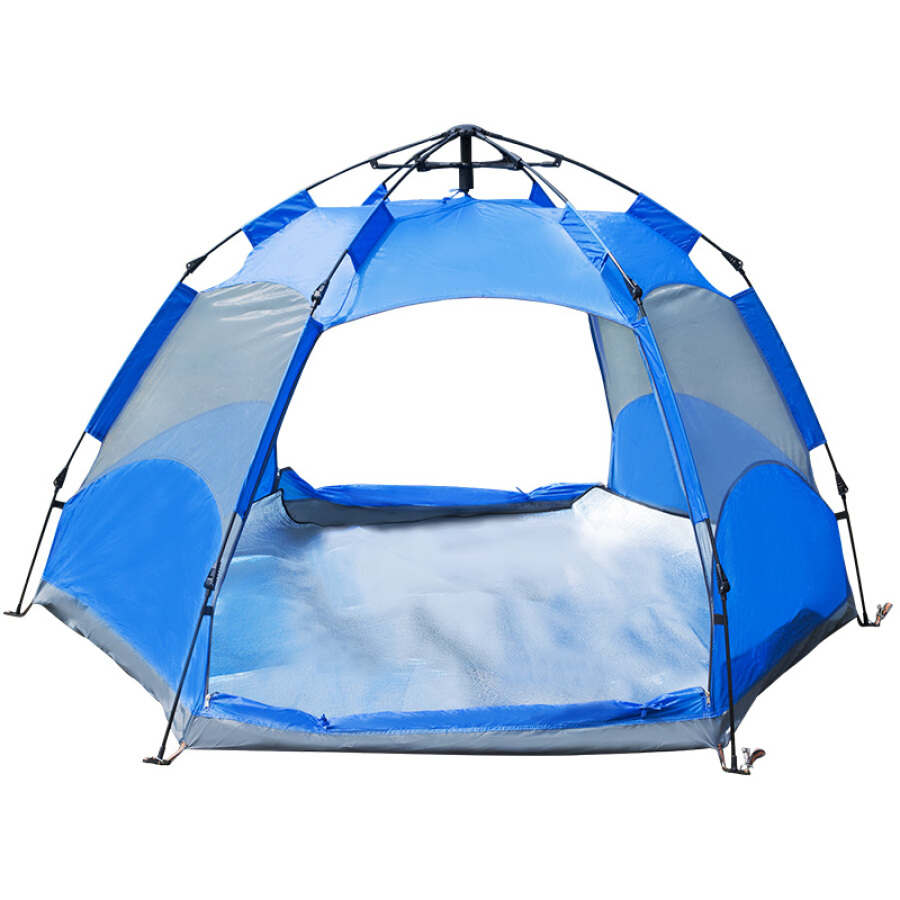Red camp tent outdoor 3-4 people fully automatic double rainproof hexagonal tent cloud Yi 240*240*135cm blue