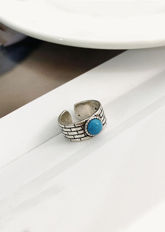 NH155 Nhẫn bạc Thái 925 Dasavoong bức tường đá xanh