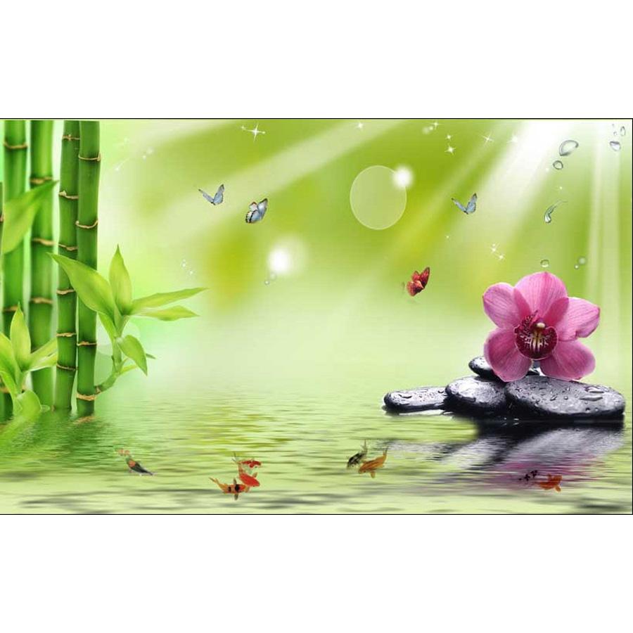 Tranh dán tường 3d | Tranh dán tường phong thủy hoa sen cá chép 3d 347