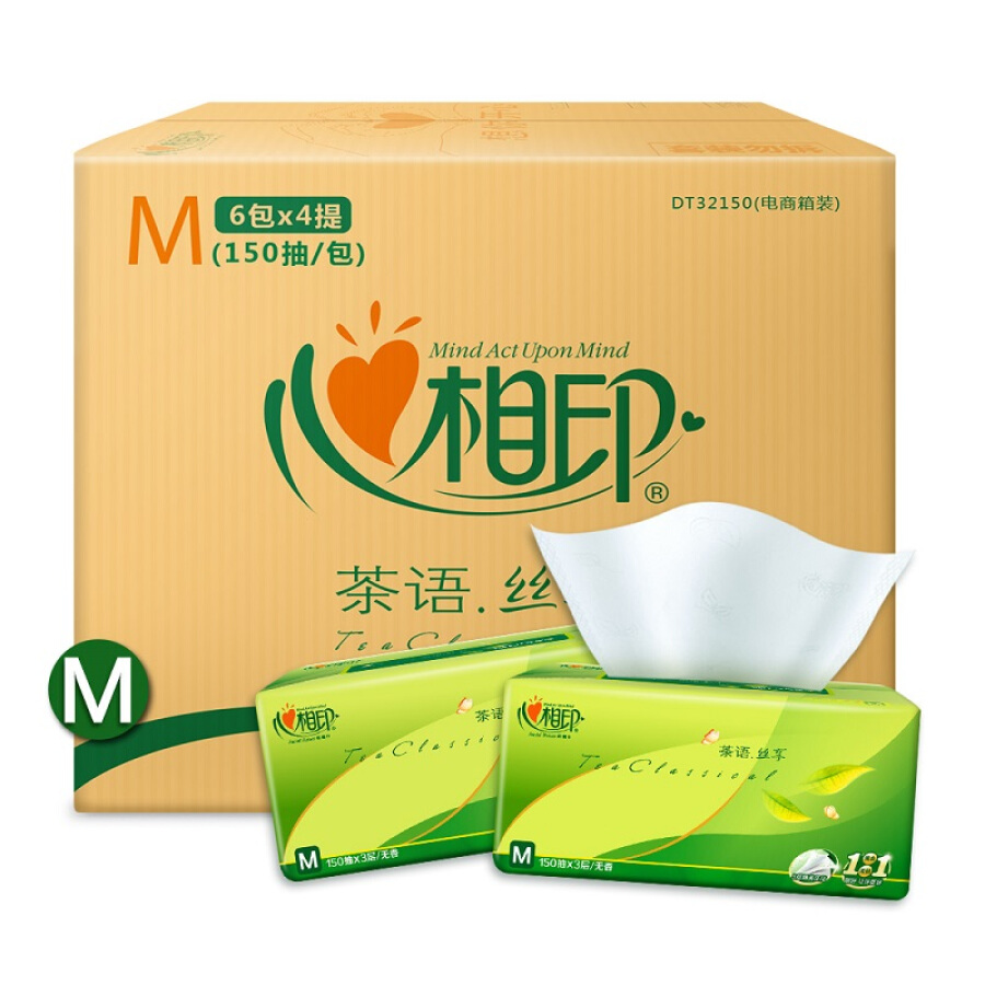 Heart prints paper towel tea tea series soft pumping 3 layer 150 pumping * 24 package (in the specifications) selected (two packages random...