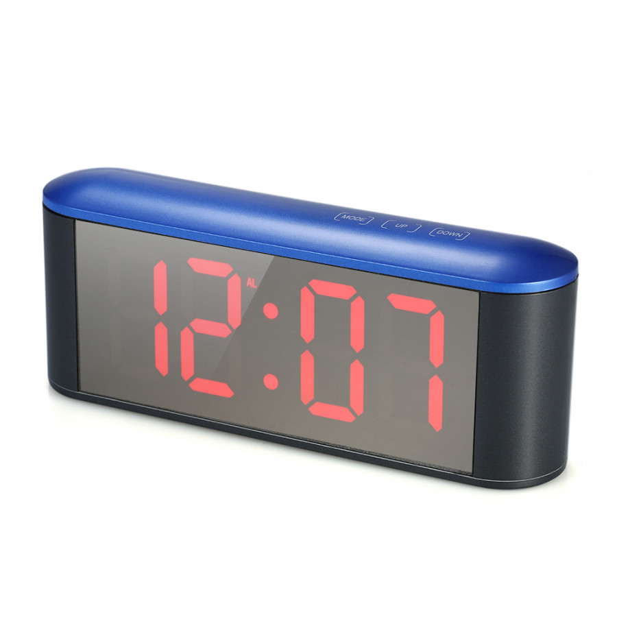 Digital Touch Control LED Mirror Clock USB Powered 12H/24H °C/°F Display Alarm Clock With Snooze Function Adjustable LED
