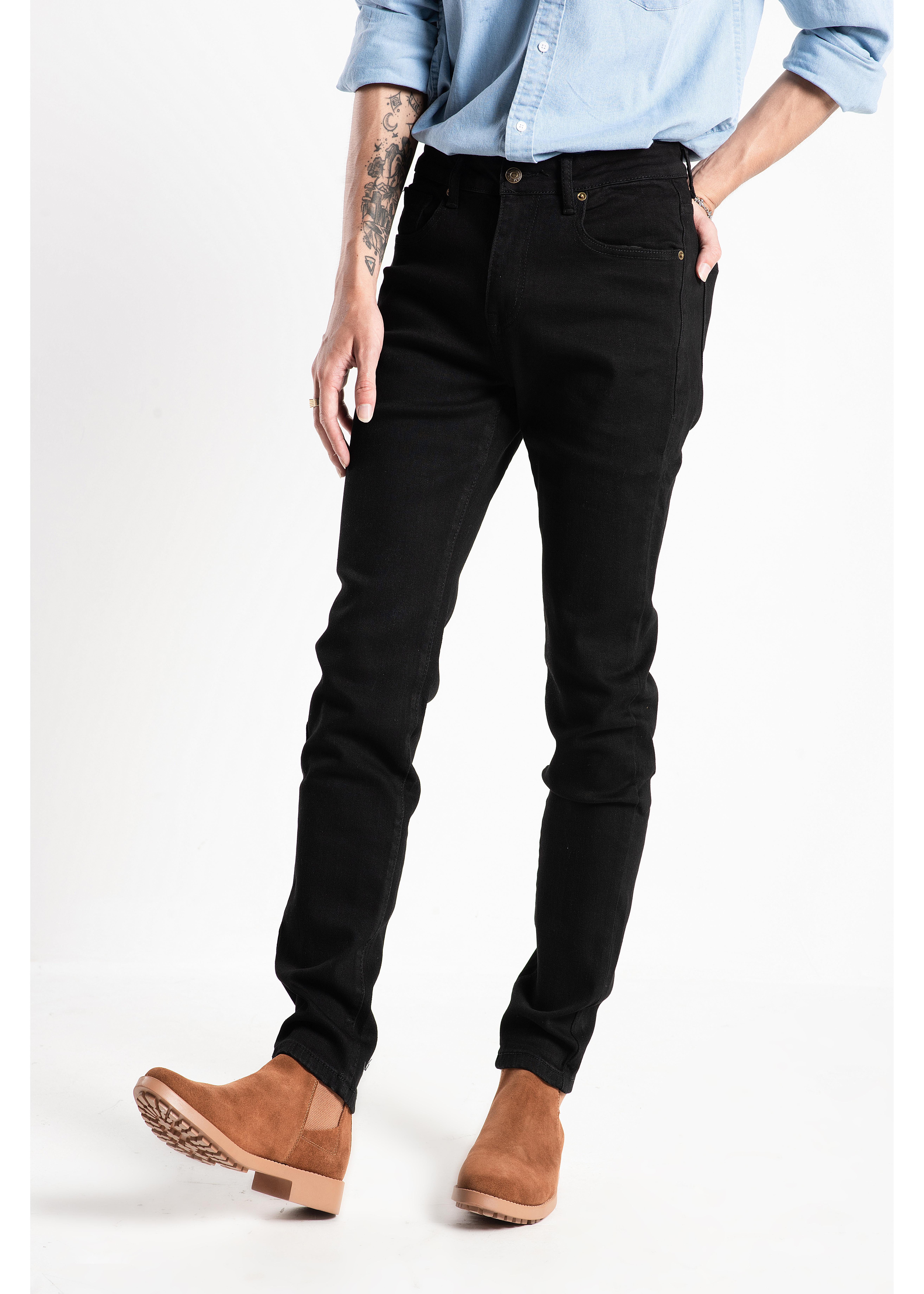 Quần jeans nam màu đen trơn Routine chất jean thun co giãn dáng Skinni QJRO3030819