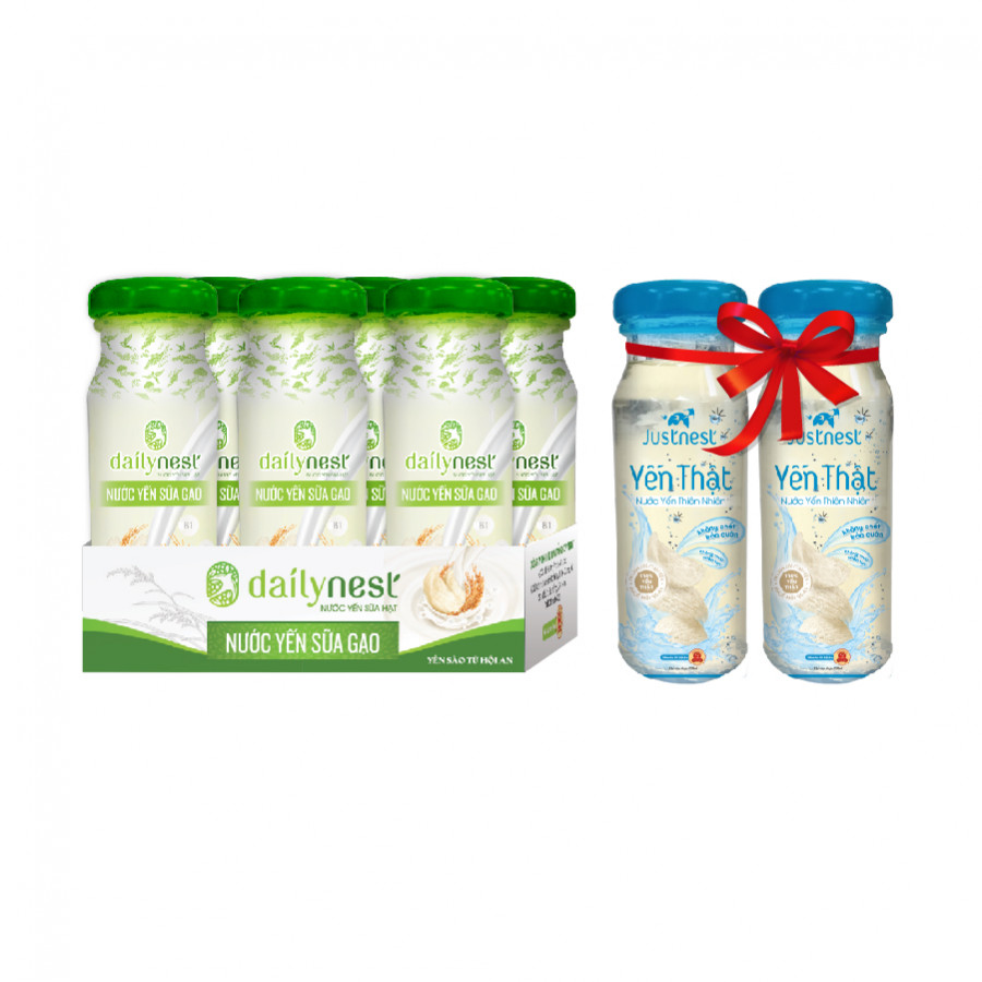 Lốc Nước Yến Sữa Gạo Dailynest (6 chai x 120ml) + 2 lọ Justnest