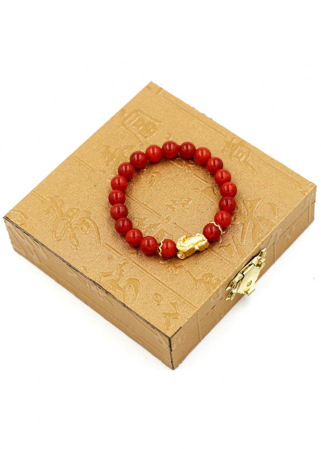 Vòng chuỗi đá vân rồng đỏ 8 ly cẩn tỳ hưu TH11 kèm hộp gỗ