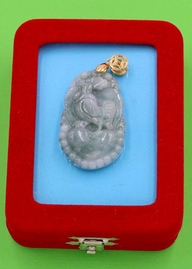 Mặt dây chuyền - khắc hình tuổi Dậu - đá cẩm thạch MCGCTX5 - kèm hộp nhung - linh vật tuổi Dậu