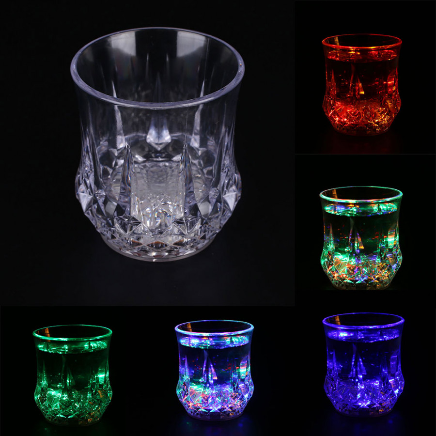 Sensing LED Color Charging Light Up Barware Drink Bear Milk Cup Glass Bar Party