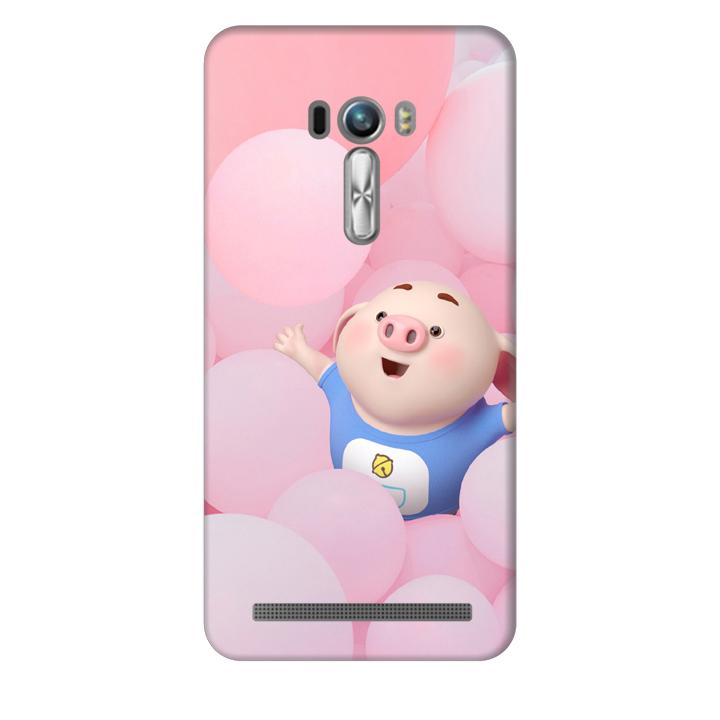 Ốp lưng nhựa cứng nhám dành cho Asus Zenfone Selfie ZD551KL in hình Heo Con Nghịch Bóng