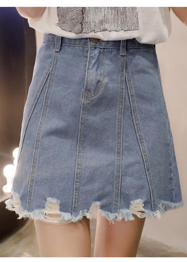3105477160251 - Chân váy jeans chữ A rách gấu