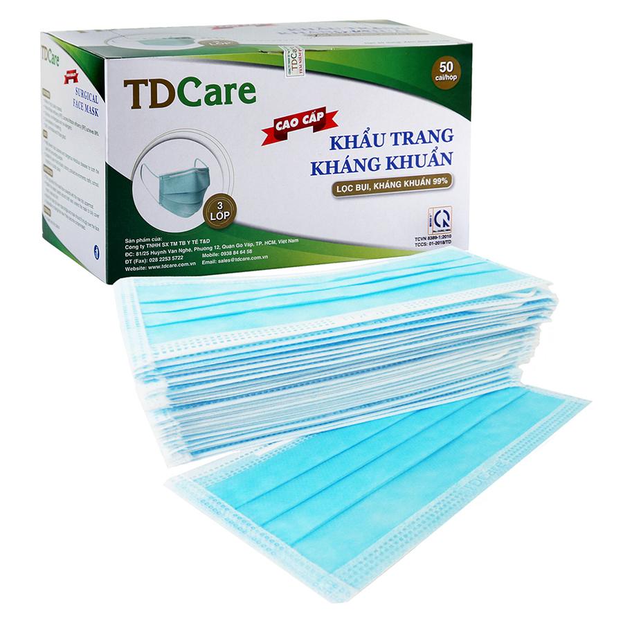 Khẩu trang kháng khuẩn TDCare 3 Lớp- Xanh