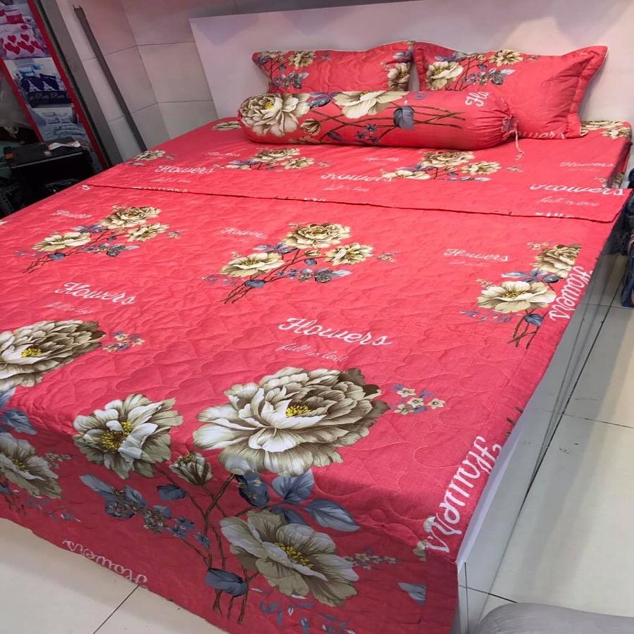 Bộ chăn ga gối cotton poly hàng xuất khẩu hoa mẫ̃u đơn hồng size m6 MR007