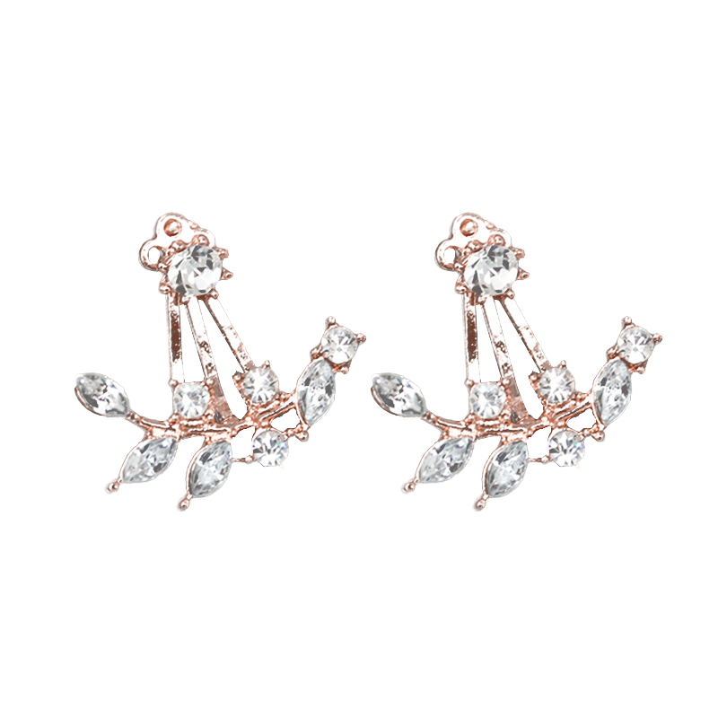 Woman Fashion Crystal Leaves Cute Post-Hanging Earrings Ear Studs Jewelry Gift
