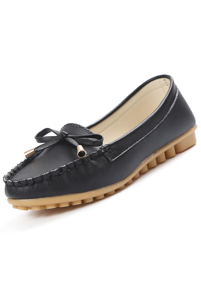 Giày lười nữ thắt nơ đế mềm Rozalo RW3141