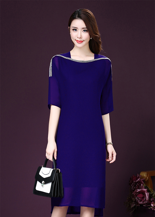 Đầm Suông Cổ Truyền Đính Cườm Sang Trọng D365