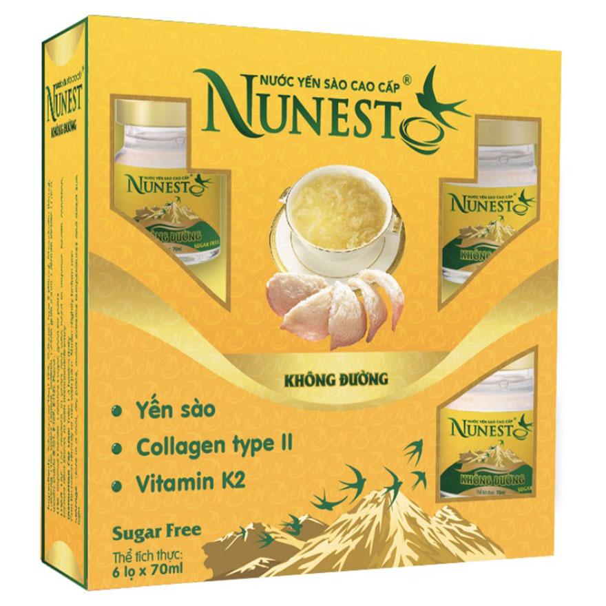 Hộp yến sào cao cấp collagen vitamin K2 không đường Nunest (6 lọ x 70ml)