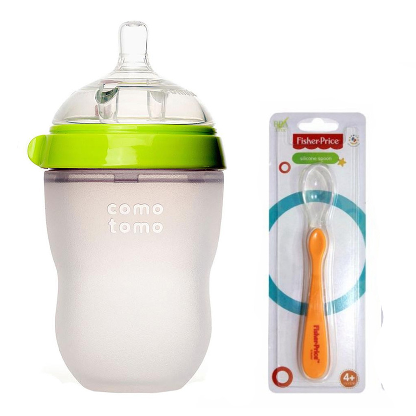 Combo Bình Sữa Comotomo 250ml Xanh Tặng Kèm Muỗng Ăn Dặm Fisher Price Sillicone Free BPA