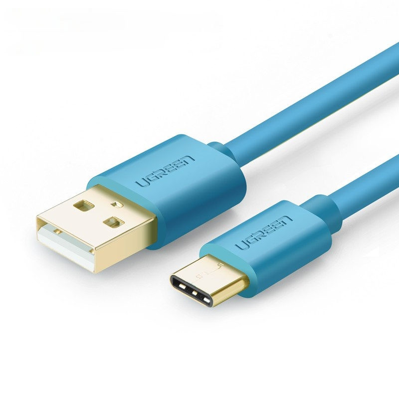 Cáp USB 2.0 sang USB Type C mạ vàng dài 1.5M US141 10656 - MÀU XANH DƯƠNG - Hãng phân phối chính thức