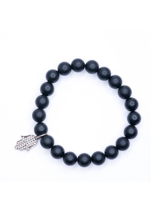 Vòng tay đá thiền Obsidian mix bàn tay Hamsa BROBS08MH02 - VietGemstones
