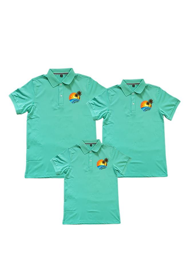 Áo thun cá sấu gia đình họa tiết Summer màu xanh ngọc