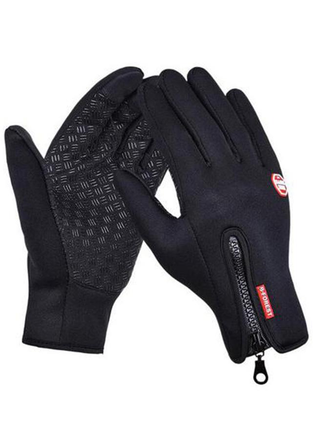 Găng tay nam chống trơn cảm ứng điện thoại lót lông (màu đen)