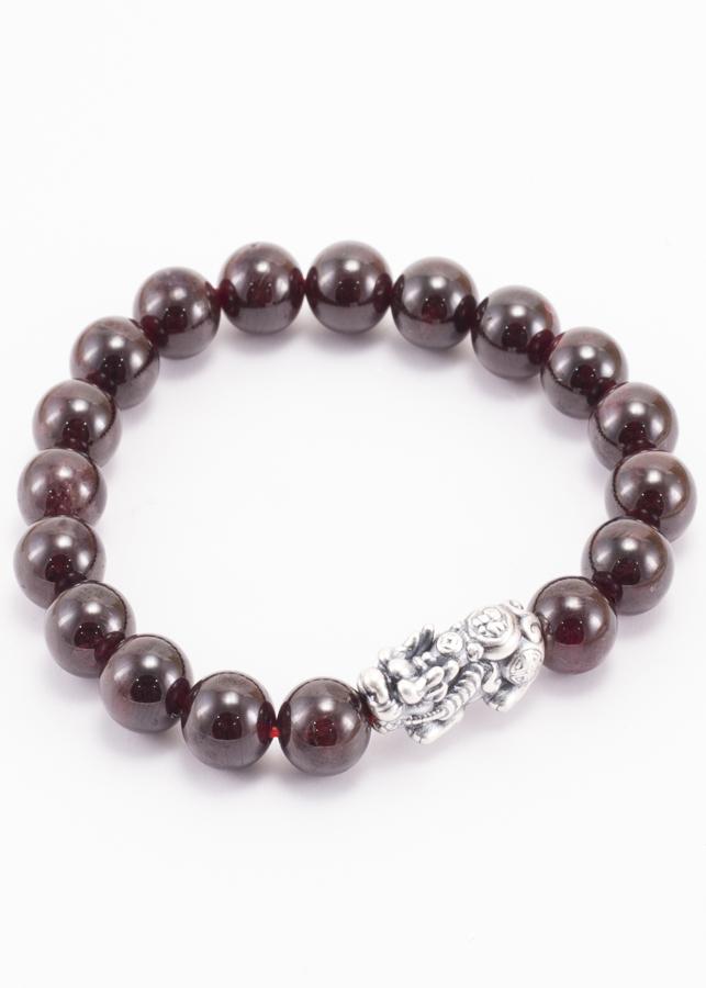 Vòng Đá Garnet Phối Charm Bạc (9mm) Ngọc Quý Gemstones