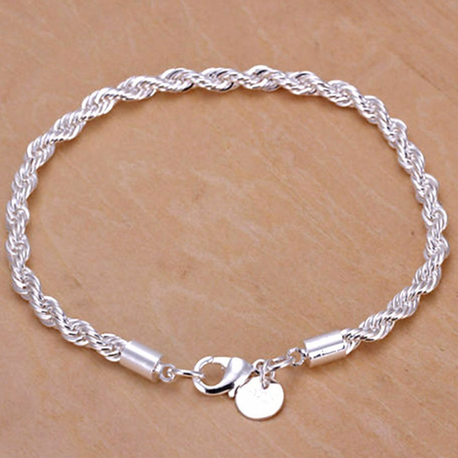 Hand Chain Bangle Charm Christmas Wristband Bracelet Silver Twisted Rope Gifts Beauty Women Lady
