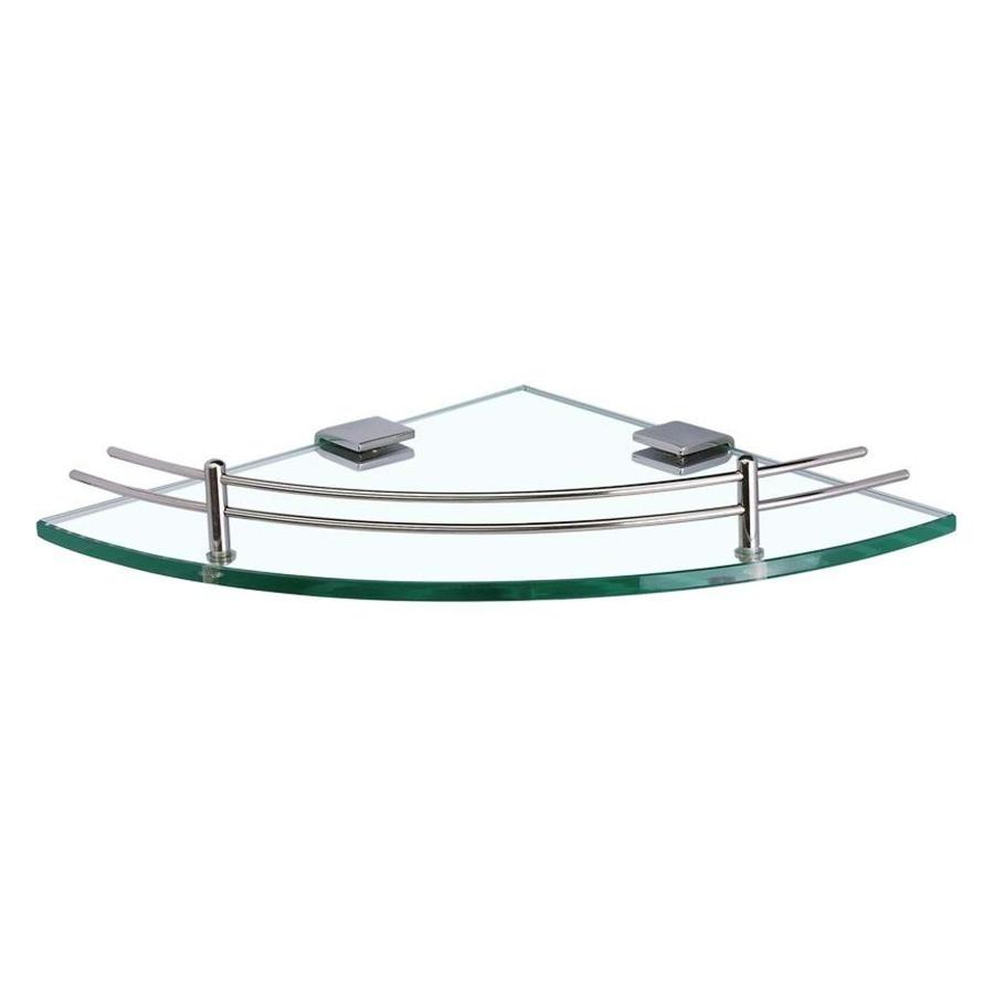 Kệ Góc Gương Phòng Tắm Inox Cao Cấp (Kính Cường Lực 10mm PE36) (25 x 25 cm)
