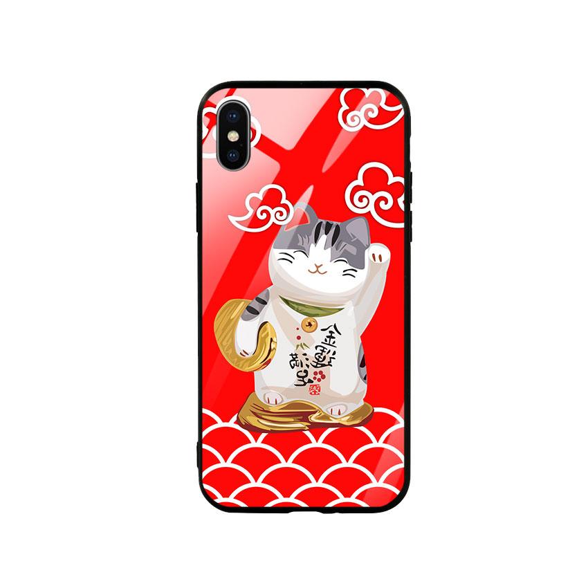 Ốp lưng kính cường lực cho điện thoại Iphone X / Xs - Mèo May Mắn 01