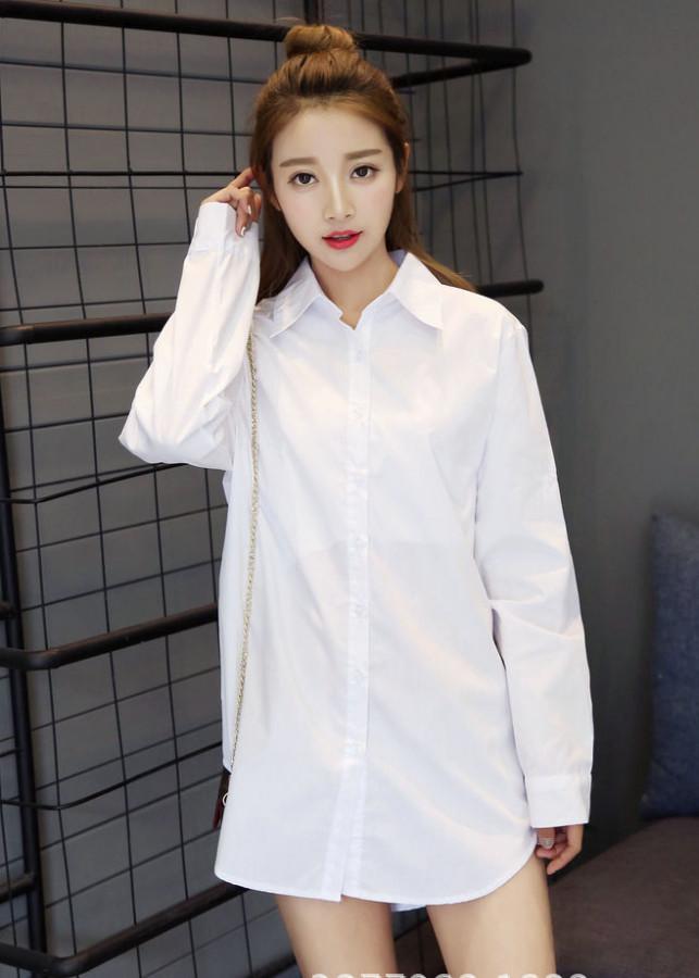 Áo sơ mi nữ màu trắng dáng dài đẹp không nhăn