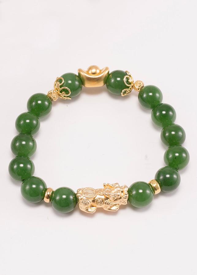 Vòng tay ngọc bích phối tỳ hưu bạc mạ vàng 24k (10mm) Ngọc Quý Gemstones