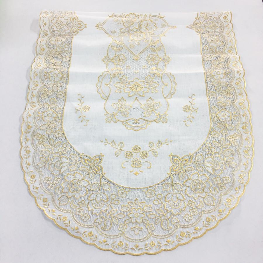 Khăn trải bàn salon oval nhũ vàng nền trắng 40x92cm của Nhật Bản