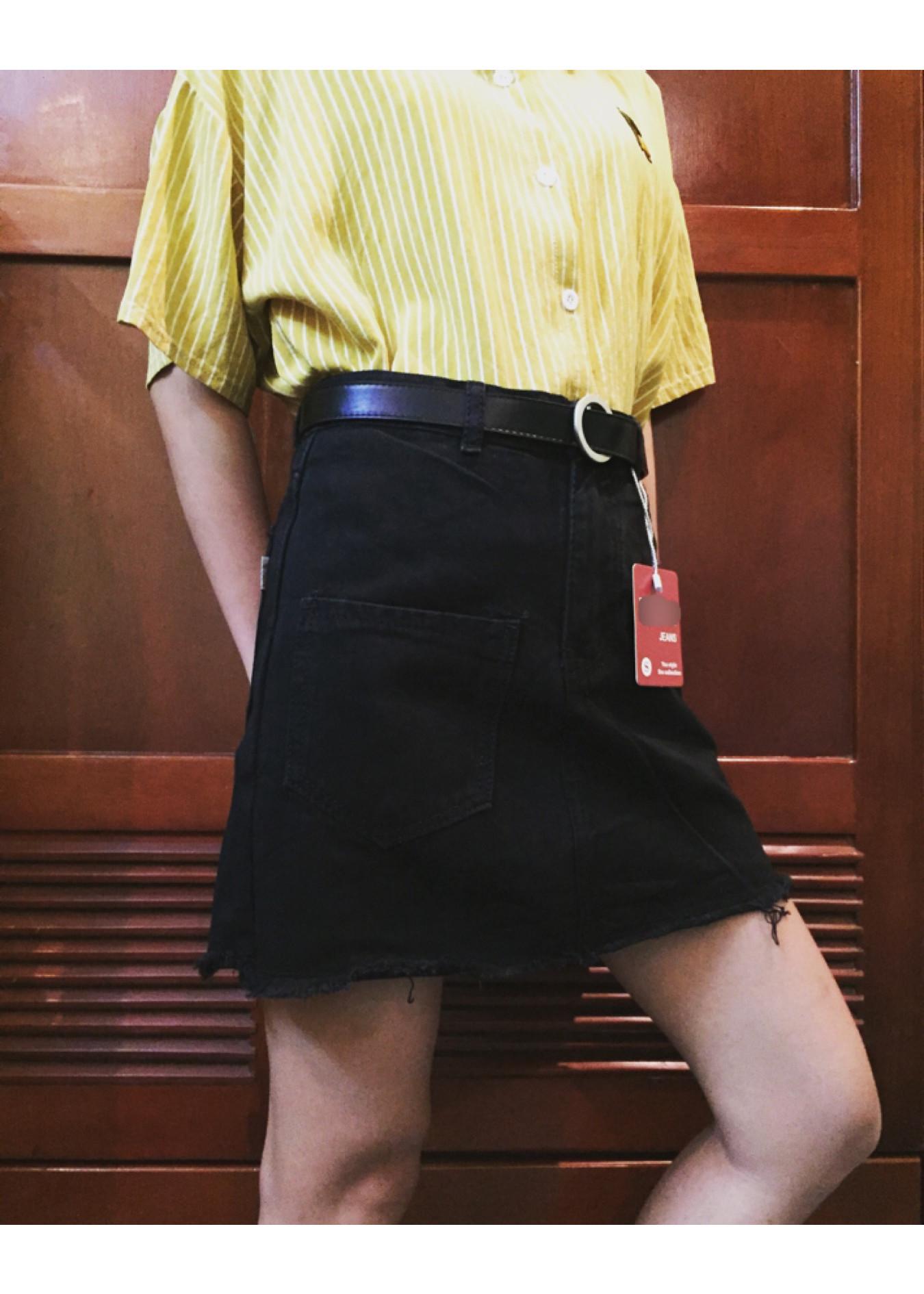 5643402867816 - Chân Váy Jean Trơn Đen-Trắng