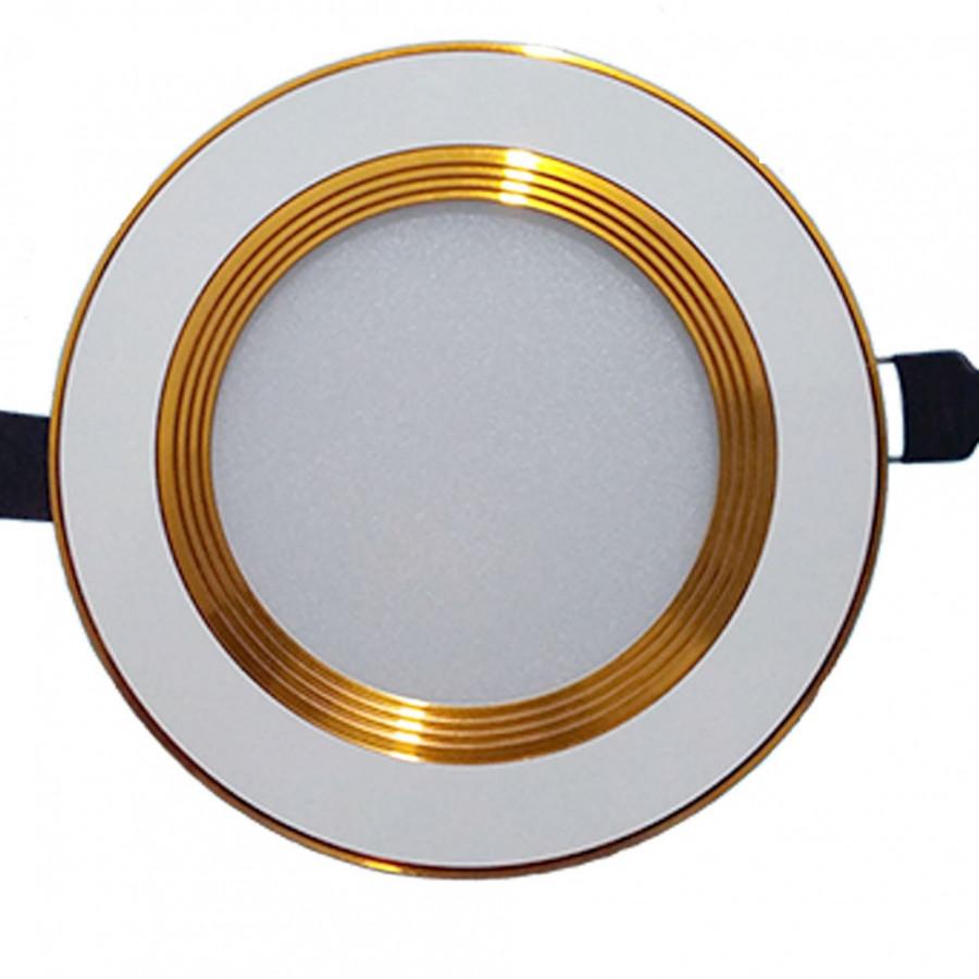 Đèn âm trần 7w 3 chế độ màu viền vàng