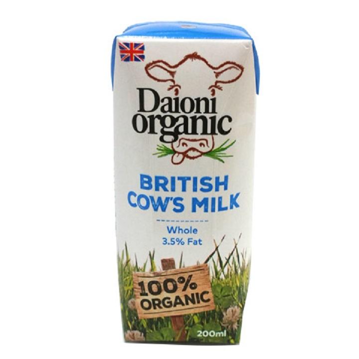 Thùng 18 hộp sữa hữu cơ Daioni nguyên kem (200ml/hộp)