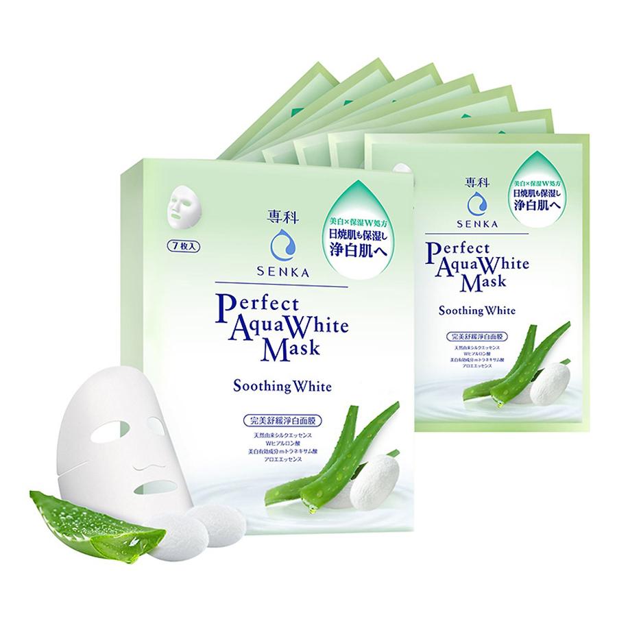 Hộp 7 Mặt Nạ Dưỡng Trắng Dịu Mát Da Senka Perfect Aqua White Mask Soothing White (25ml / Miếng) - 14992 - 9450832 , 1893656460705 , 62_1565695 , 238000 , Hop-7-Mat-Na-Duong-Trang-Diu-Mat-Da-Senka-Perfect-Aqua-White-Mask-Soothing-White-25ml--Mieng-14992-62_1565695 , tiki.vn , Hộp 7 Mặt Nạ Dưỡng Trắng Dịu Mát Da Senka Perfect Aqua White Mask Soothing White