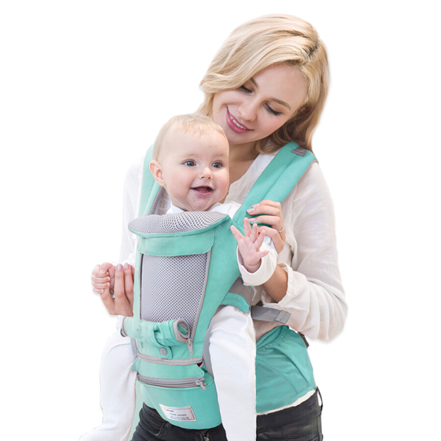 Aibo suitable baby strap waist stool four seasons multi-functional breathable baby carrier with baby artifact M138 mint green