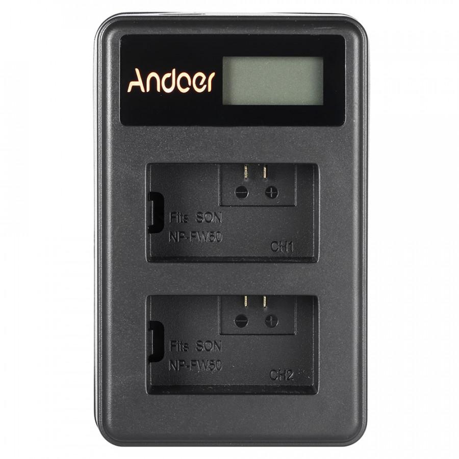 Bộ Sạc Pin USB Andoer NP-FW50 Cho Pin Máy Ảnh Sony Alpha A7 A7R A7S A5000