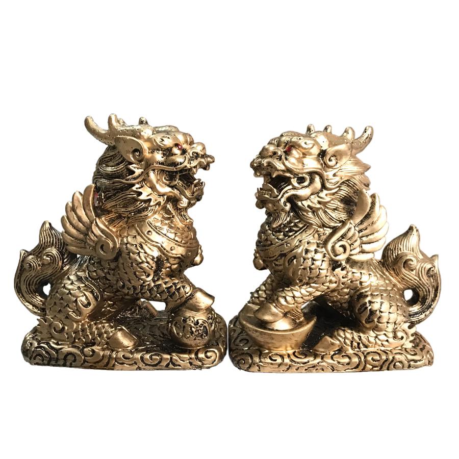 Cặp Tượng Đá Tỳ Hưu Phong Thủy 2 Sừng - Màu Nhũ Vàng