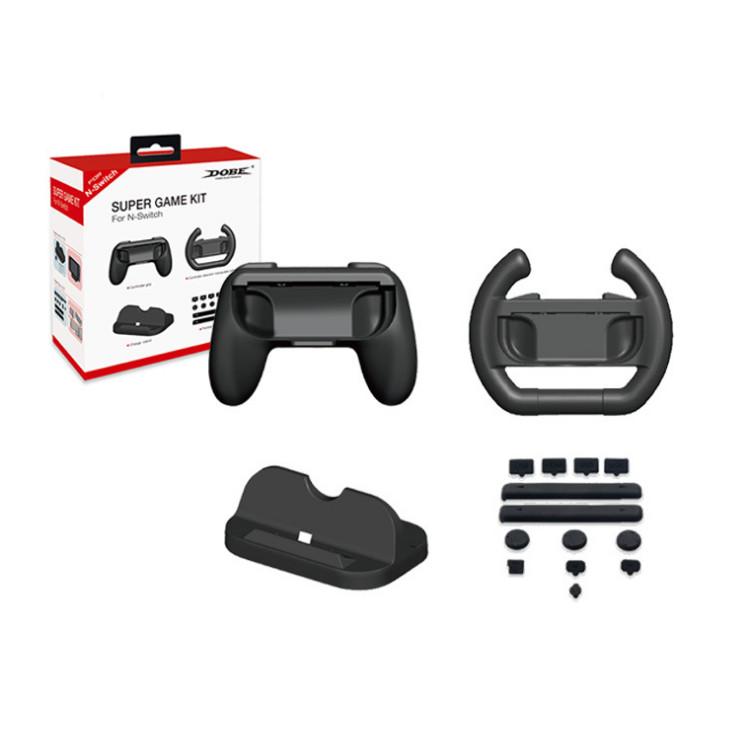 Set Super Game Kit tay lái + phanh + hộp số mô hình ô tô cho Nintendo Switch Promax Dobe TNS-876