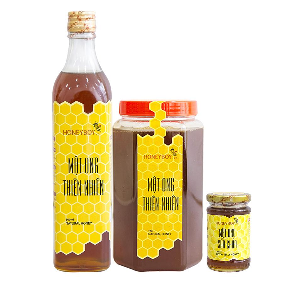 Combo Mật Ong Thiên Nhiên Honeyboy (500ml) + Mật Ong Thiên Nhiên Honeyboy (1kg) - Tặng Mật Ong Sữa Chúa Honeyboy (100ml) - 894942 , 4325760358243 , 62_1675177 , 245000 , Combo-Mat-Ong-Thien-Nhien-Honeyboy-500ml-Mat-Ong-Thien-Nhien-Honeyboy-1kg-Tang-Mat-Ong-Sua-Chua-Honeyboy-100ml-62_1675177 , tiki.vn , Combo Mật Ong Thiên Nhiên Honeyboy (500ml) + Mật Ong Thiên Nhiên Hone