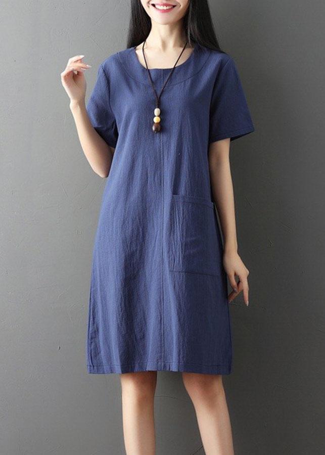 Đầm suông ngắn tay phối túi phong cách thời trang