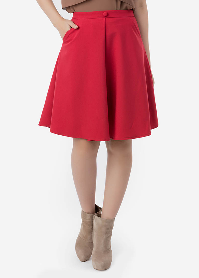 Chân Váy Nữ Xéo Chít Ly Giữa Đính Nút 9VN049 - Đỏ